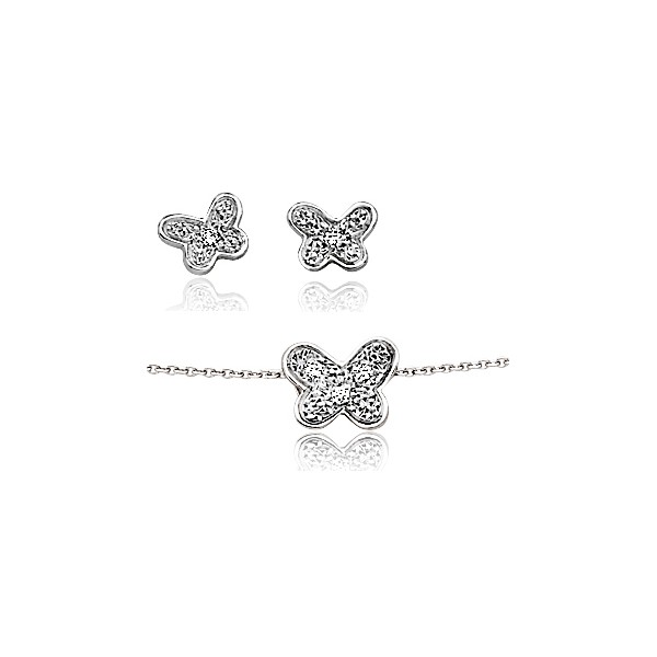parure chaine de cou pour femme en or blanc diamant papillon et boucles d 39 oreilles or blanc et. Black Bedroom Furniture Sets. Home Design Ideas