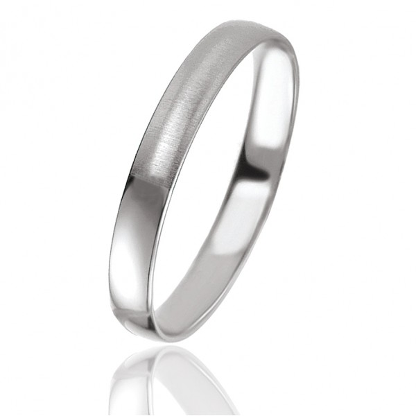 Bague homme or blanc mat