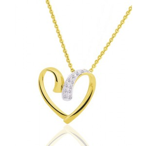 chaine de cou pour femme en or jaune 18 carats et pendentif coeur diamant 0 04 carat. Black Bedroom Furniture Sets. Home Design Ideas