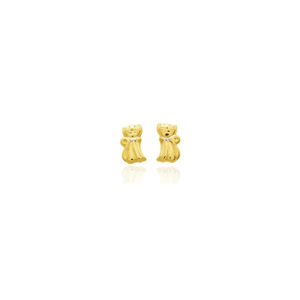 boucles d 39 oreilles enfant tout or jaune 18 carats chaton. Black Bedroom Furniture Sets. Home Design Ideas