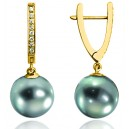 Boucles d'oreilles or jaune18 carats, diamants 0,12 carat et perles de Tahiti 8/9 mm