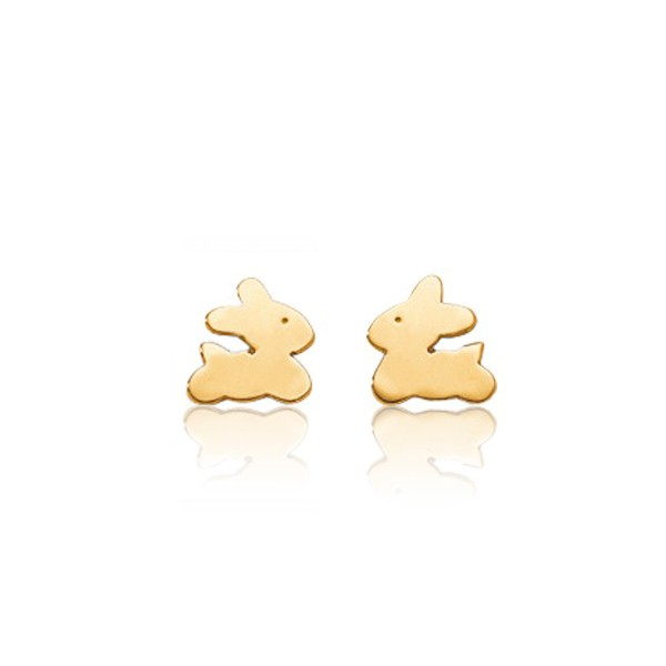 boucles d 39 oreilles kidou or jaune 18 carats lapins pour enfant. Black Bedroom Furniture Sets. Home Design Ideas