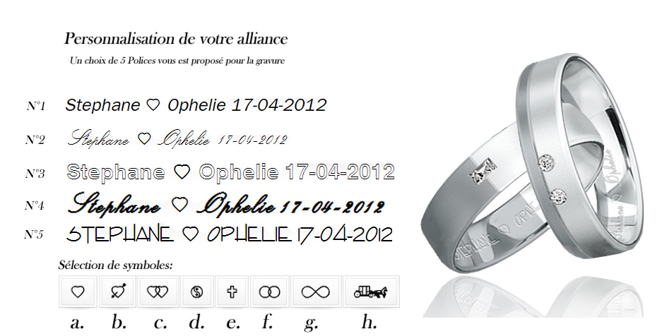 Personnalisation alliance breuning or blanc diamant