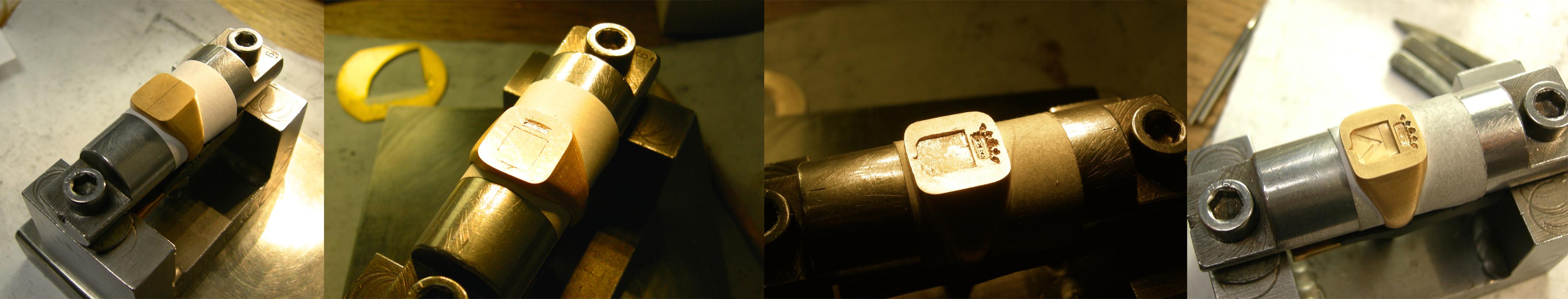 creation d'une chevaliere héraldique en or 18 carats avec écu et couronne