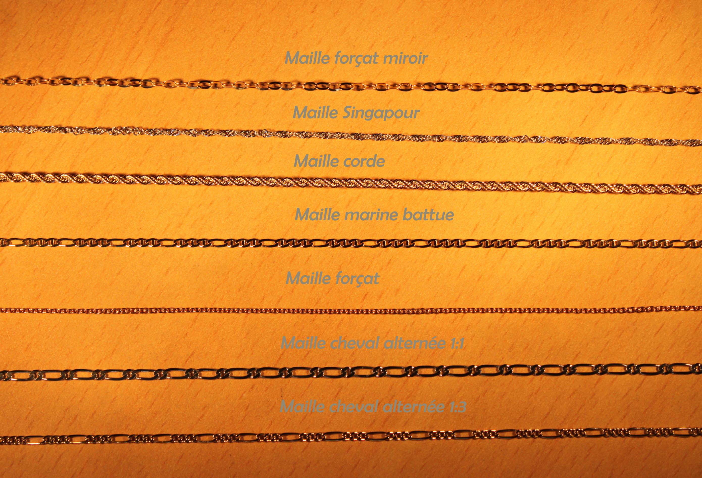 types de chaines de cheville or 18 carats